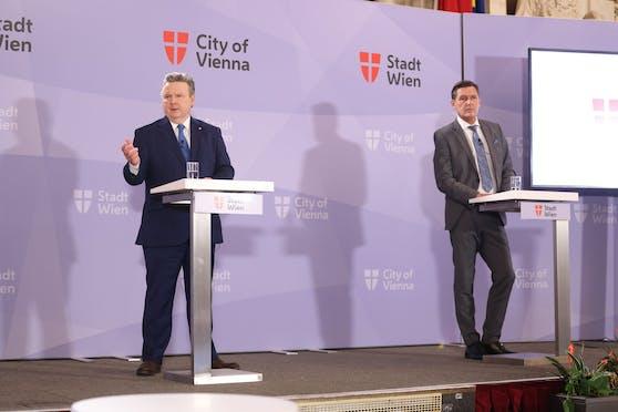 Bürgermeister Michael Ludwig und Wirtschaftsstadtrat Peter Hanke (beide SPÖ).