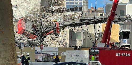 In Wien-Alsergrund passierte auf einer Abriss-Baustelle eine Panne.
