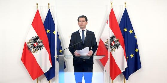 """Bundeskanzler Sebastian Kurz (ÖVP) im Rahmen einer PK mit dem Titel """"Impfstofflieferungen der EU"""" am Freitag, 12. März 2021, in Wien."""