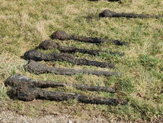 In einem alten Löschteich waren Panzerfäuste und eine Sprenggranate vergraben.