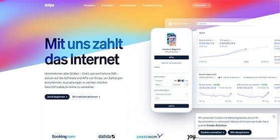 So sieht der Web-Auftritt von Stripe.com aus.