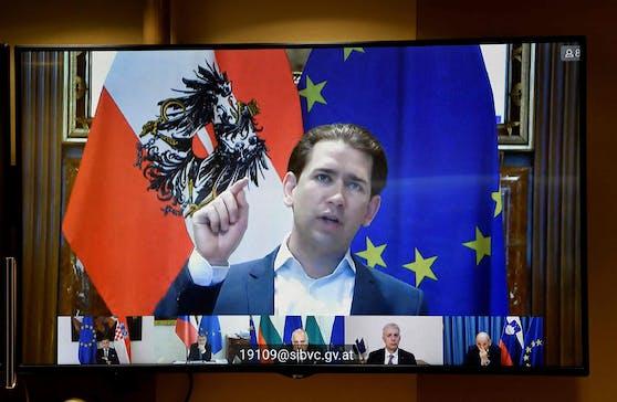 Sebastian Kurz bei einer Videokonferenz mit EU-Kollegen