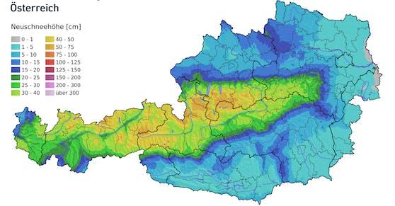 Neuschneesumme bis Montag (21. März 2021)