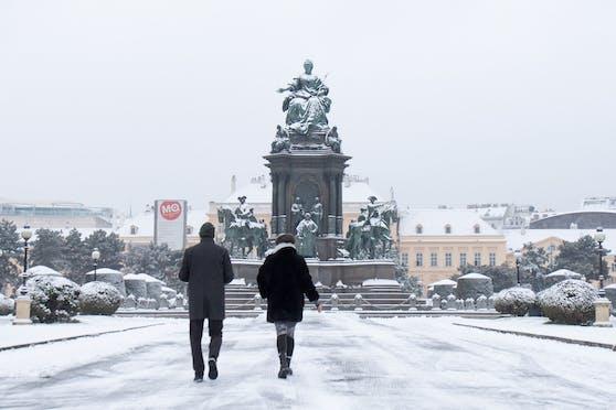 Schnee am Maria-Theresien-Platz in Wien. Archivbild