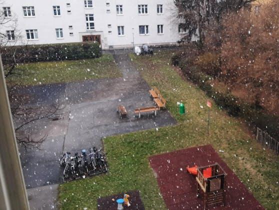 In Wien begann es plötzlich zu schneien.