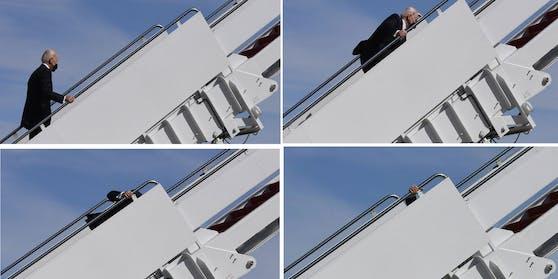 US Präsident Joe Biden stolpert beim Aufstieg zur Air Force One.