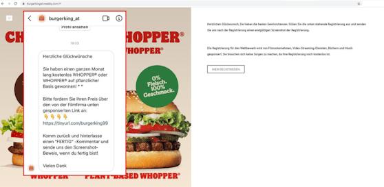 Das Burger King Fake-Gewinnspiel, das auf Social Media kursiert, ist eher schlecht aufgemacht.