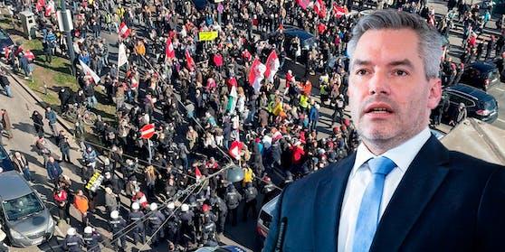 Innenminister Karl Nehammer findet klare Worte zur Corona-Demo