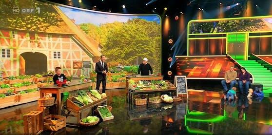 """""""Klein gegen Groß"""":Lasse (9, links) wettet, er könne besser Gemüse anhand der Jungpflanze erkennen als DJ Ötzi"""