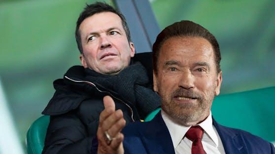 Arnold Schwarzenegger ehrt Lothar Matthäus.