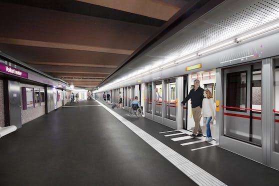 Der Bahnsteig bei der U2-Station Volkstheater wird mit Türen ausgestattet. In Zukunft sollen U-Bahnen autonom, also ohne Fahrer, unterwegs sein.