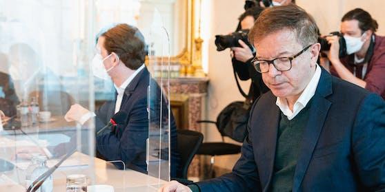 Corona-Gipfel am Montag in Wien, hier Gesundheitsminister Anschober und Bundeskanzler Kurz