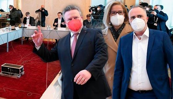Michael Ludwig, Hanni Mikl-Leitner und Hans Peter Doskozil sind im Krisengespräch.