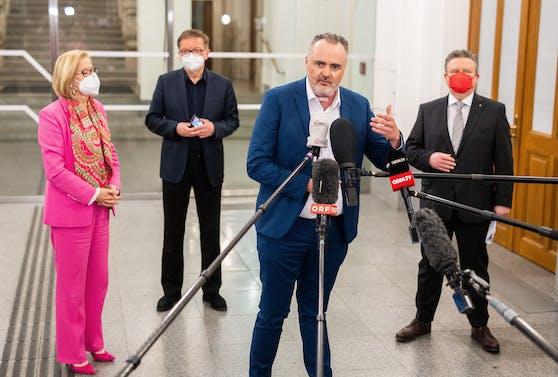 Die vier Hauptdarsteller des Ost-Gipfels: Mikl-Leitner (NÖ); Minister Anschober; Doskozil (Bgld); Ludwig (Wien)