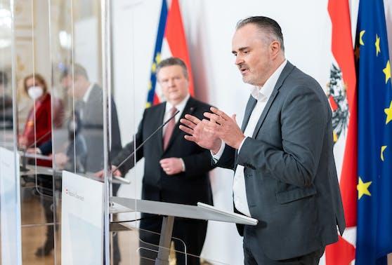 Hans Peter Doskozil (SPÖ) bei der Presskonferenz am am Mittwoch.