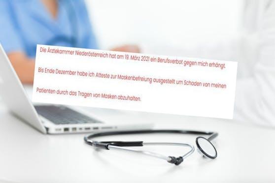Der Arzt informierte seine Patienten auch auf der Homepage der Ordination.