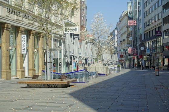 Die verwaiste Kärntnerstraße in Wien.