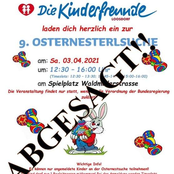 Leider fällt das traditionelle Osterfest der Kinderfreunde Loosdorf Corona zum Opfer.