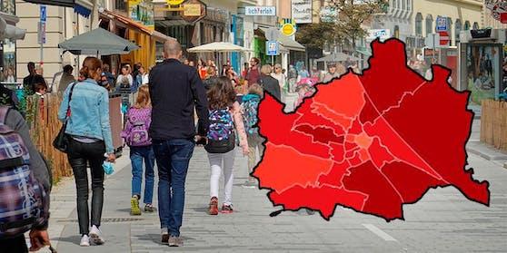 So präsentiert sich die Corona-Lage in den Wiener Bezirken aktuell.