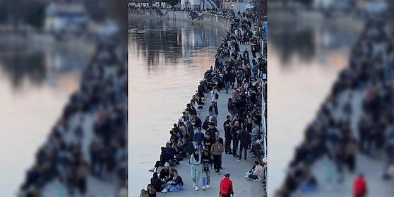 So überfüllt war der Wiener Donaukanal am Freitag