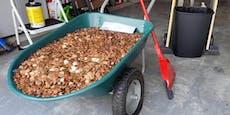 Mitarbeiter erhält 91.500 ölige Münzen als letzten Lohn