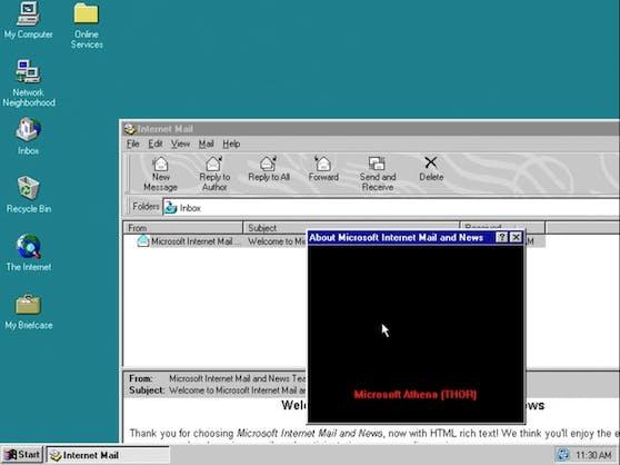 So sieht die gefundene Geheimbotschaft in Windows 95 aus.