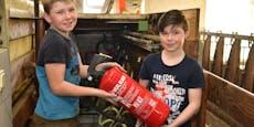 Hannes (11) und Valentin (10) löschten Bauernhofbrand