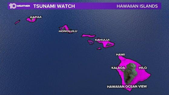 Auch Hawaii ist von der Tsunami-Warnung betroffen