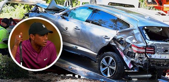 Das Auto von Tiger Woods wird untersucht.