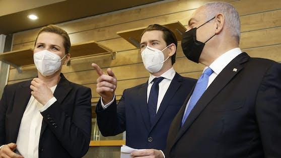 Bundeskanzler Sebastian Kurz und seine dänische Amtskollegin Mette Frederiksen bei der Visite in Israel mit Premier Benjamin Netanyahu.