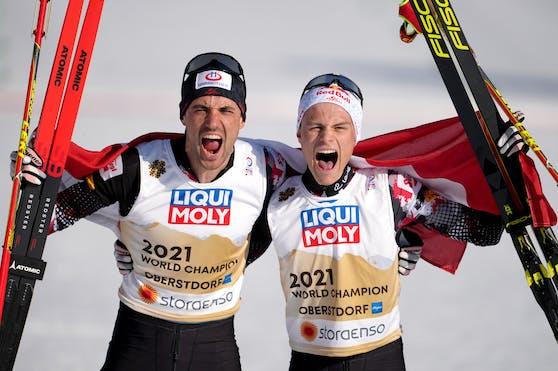 Johannes Lamparter und Lukas Greiderer holen Team-Gold.