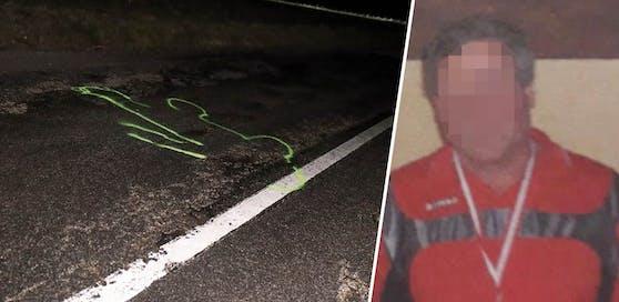Links die Unfallstelle an der Josef H. (rechts) vom Auto einer 27-Jährigen überrollt und tödlich verletzt wurde.