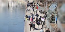 Wiener drängen sich bei Schönwetter am Donaukanal