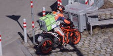 Mann liefert Essen mit rasantem KTM-Bike aus