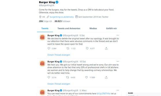 Burger King löschte den Beitrag und entschuldigte sich öffentlich.