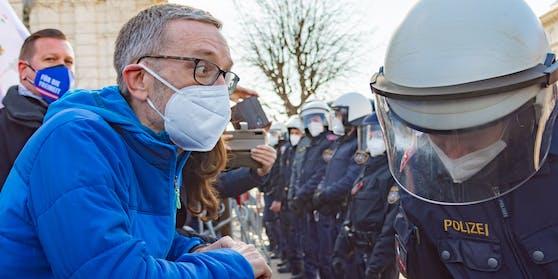 FPÖ-Klubchef Herbert Kickl bei der Demo am Samstag.