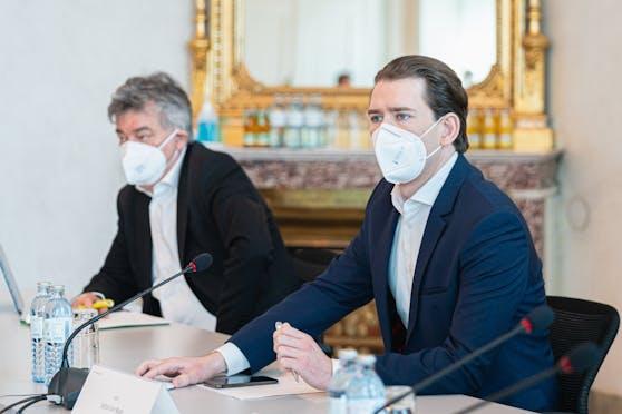 Bundeskanzler Sebastian Kurz und Vizekanzler Werner Kogler.