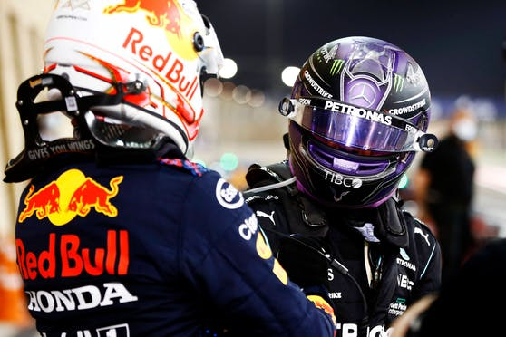 Max Verstappen und Lewis Hamilton..
