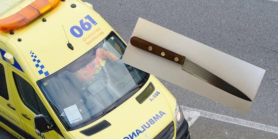 Mit diesem Küchenmesser attackierte der 32-Jähriger die Rettungssanitäter.