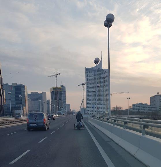 Ein Leser entdeckte den Mann dabei, wie er über die Brücke radelte.