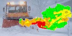 Warnstufe ROT! Schneefall sorgt für Chaos in Österreich
