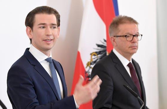 Bundeskanzler Sebastian Kurz (ÖVP) und Gesundheitsminister Rudi Anschober (Grüne) bei einer gemeinsamen Pressekonferenz.