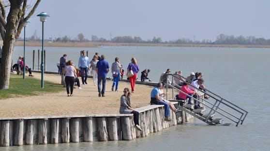 Menschen spazieren am Neusiedler See entlang.