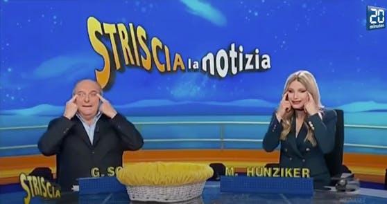 Michelle Hunziker (r.) und dem italienischen Politiker Gerry Scotti werden Rassismus vorgeworfen.