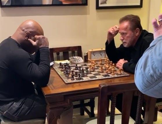 Mike Tyson und Arnold Schwarzenegger beim mentalen Armdrücken.