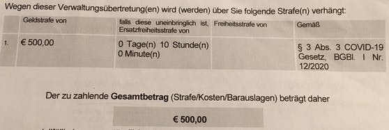 500 Euro oder 10 Stunden Haft – der Strafbescheid an den Wiener.