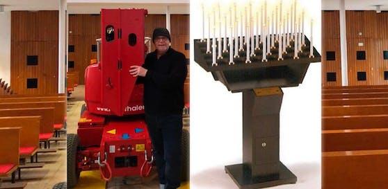 Pfarrer Franz Zeiger bei den Renovierungsarbeiten (links). Er setzt auf Sicherheit, will nun LED-Kerzen in seiner Kirche einführen.