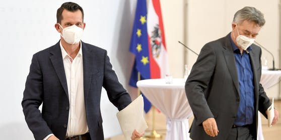 Neuer Gesundheitsminister Wolfgang Mückstein und Werner Kogler.