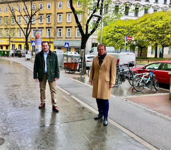 Der Klubobmann der ÖVP Wien Johannes Pasquali (l.) und der Verkehrssprecher der ÖVP Wien Wolfgang Kieslich fordern eine bindende Bürgerbefragung zum Umbau der Favoritenstraße.