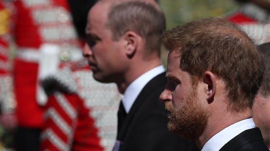 William und Harry nebeneinander. Bei dem Begräbnis von Prinz Philip sprachen beide kurz miteinander.